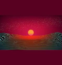 80s retro futuristic background synthwave red vector