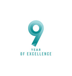 9 year excellence template design vector