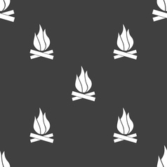 A fire icon sign Seamless pattern on a gray vector image