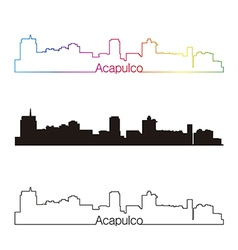 Acapulco skyline linear style with rainbow vector