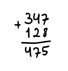 Addition calculation freehand vector