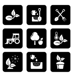 Agriculture black icon set vector