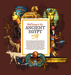 Ancient egypt travel poster with country symbols vector