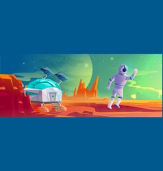 Astronaut on alien planet landscape colonization vector