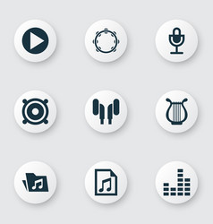 Audio icons set collection of mike start lyre vector