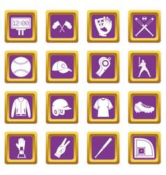 Baseball icons set purple vector