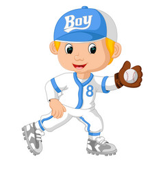 Baseball player catching ball vector
