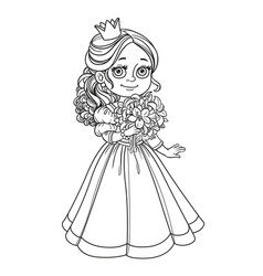 Beautiful princess holding bouquet of lilies in vector