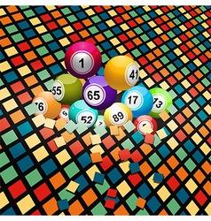 Bingo balls breaking a coloured tiles background vector