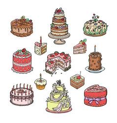 Birthday or wedding celebration cream cake pie vector