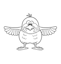 Black and white of funny cartoon sparrow with vector