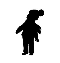 Black silhouette of little boy looking to sky vector