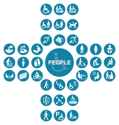 Blue cruciform disability and people Icon collecti vector image