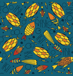 blue pattern with fishes in a chaotic manner vector image