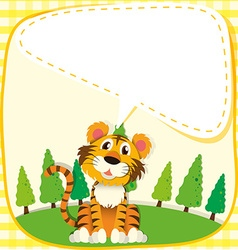 Border design with lion in the park vector