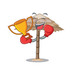 Boxing winner beautiful beach shelter sand vector