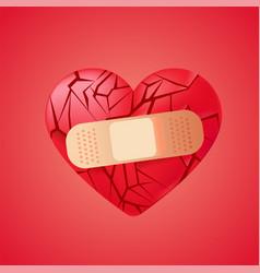 Broken heart sealed with medical bandage red vector