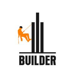 Builder skycraper logo real estate design vector