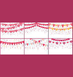 bunting love hearts love garland valentine party vector image