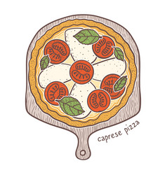Caprese pizza sketching vector
