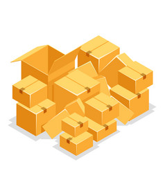 cardboard box pile isolated object isometric 3d vector image
