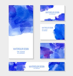 Cards with abstract watercolor stains vector