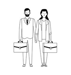 Cartoon business woman and man with portfolios vector