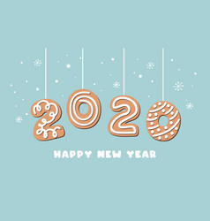 cartoon gingerbread new year banner greeting card vector image