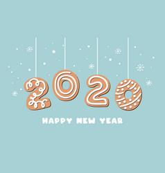 cartoon gingerbread new year banner greeting card vector image