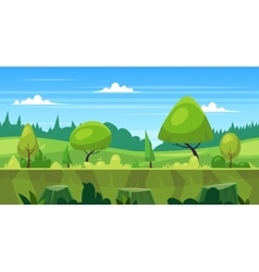 Cartoon nature seamless landscape with trees vector