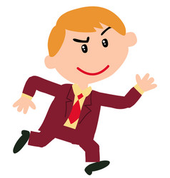 Character boy dressed like a businessman running vector