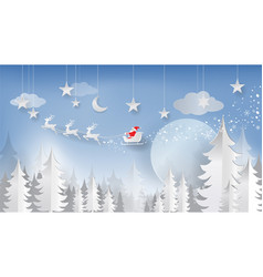 christmas and new year paper cut paper art style vector image