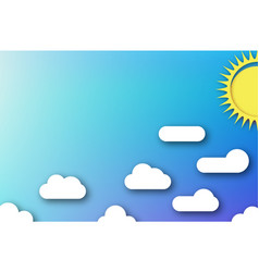 cloudscape blue sky with white clouds and sun vector image
