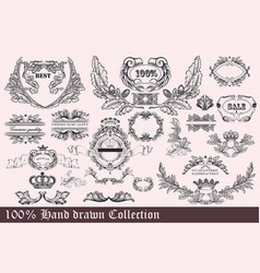 collection wreath frames and ornaments vector image