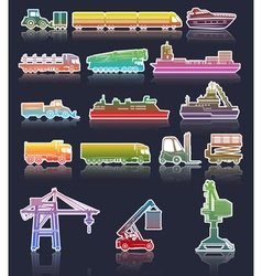 Colorful Set of Industrial Transport Icons vector image