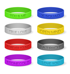 colour silicone bracelets vector image