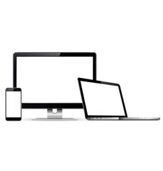 Computer monitor laptop mobile phone vector