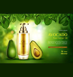 Cosmetics oil avocado organic eco product bottle vector
