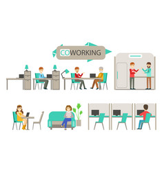 coworking center people mettingtalking and vector image