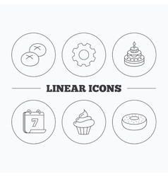 Cupcake cake and bread rolls icons vector image