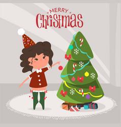 Cute girl decorating christmas tree at home flat vector