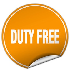 Duty free round orange sticker isolated on white vector