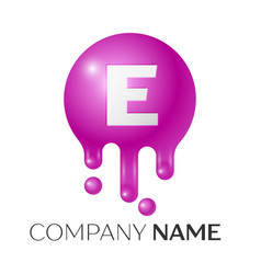 e letter splash logo purple dots and bubbles vector image