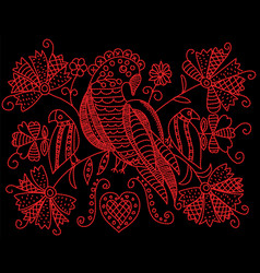 embroidery pattern with birds and flowers in folk vector image