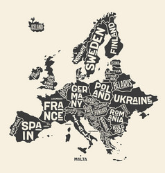 europe map poster map europe with country vector image