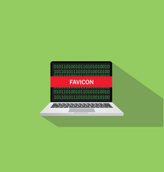 Favicon concept sign with laptop and text on the vector