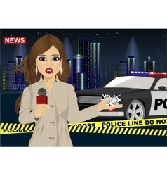 Female journalist reports news about accident vector image