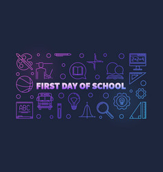 first day school colorful thin line vector image