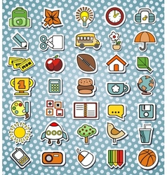 funny elementary school icons vector image