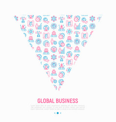 global business concept in triangle vector image